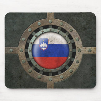 Industrial Steel Slovenian Flag Disc Graphic Mouse Pad
