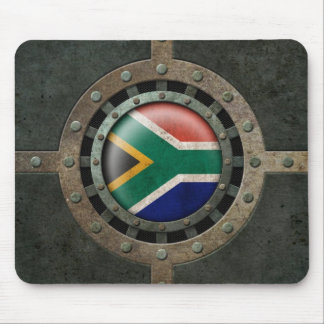 Industrial Steel South African Flag Disc Graphic Mouse Pad