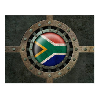 Industrial Steel South African Flag Disc Graphic Postcard