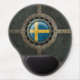Industrial Steel Swedish Flag Disc Graphic Gel Mouse Pad