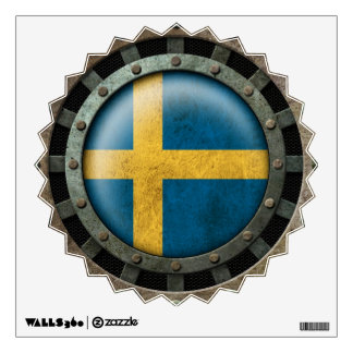 Industrial Steel Swedish Flag Disc Graphic Wall Sticker