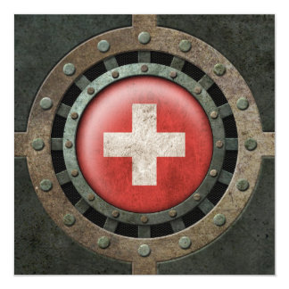 Industrial Steel Swiss Flag Disc Graphic Personalized Announcements