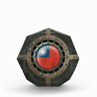 Industrial Steel Taiwanese Flag Disc Graphic Acrylic Award