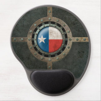 Industrial Steel Texas Flag Disc Graphic Gel Mouse Pad