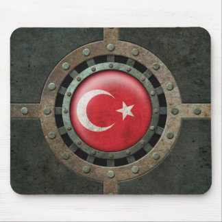 Industrial Steel Turkish Flag Disc Graphic Mouse Pad