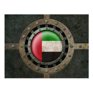 Industrial Steel UAE Flag Disc Graphic Postcard