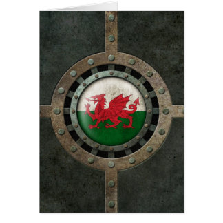 Industrial Steel Welsh Flag Disc Graphic Card