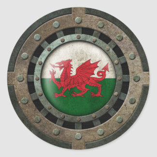 Industrial Steel Welsh Flag Disc Graphic Classic Round Sticker