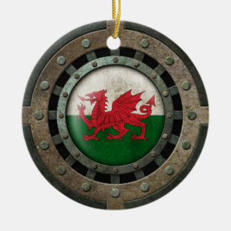 Industrial Steel Welsh Flag Disc Graphic Double-Sided Ceramic Round Christmas Ornament