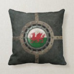Industrial Steel Welsh Flag Disc Graphic Pillow