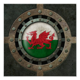 Industrial Steel Welsh Flag Disc Graphic Poster