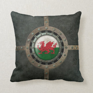 Industrial Steel Welsh Flag Disc Graphic Throw Pillow