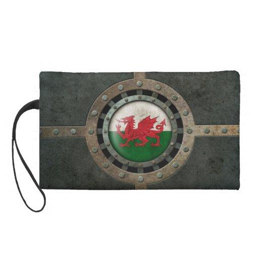 Industrial Steel Welsh Flag Disc Graphic Wristlet Purse