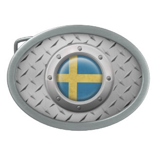 Industrial Swedish Flag with Steel Graphic Oval Belt Buckle