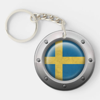 Industrial Swedish Flag with Steel Graphic Keychain