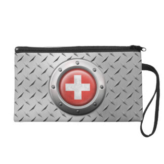 Industrial Swiss Flag with Steel Graphic Wristlet Purses