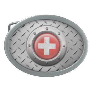 Industrial Swiss Flag with Steel Graphic Oval Belt Buckles