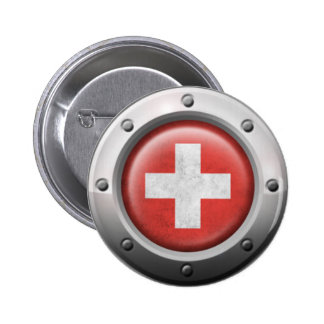 Industrial Swiss Flag with Steel Graphic Button