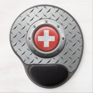 Industrial Swiss Flag with Steel Graphic Gel Mouse Pad