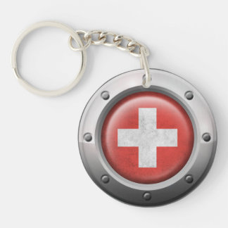 Industrial Swiss Flag with Steel Graphic Acrylic Key Chains
