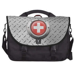 Industrial Swiss Flag with Steel Graphic Laptop Commuter Bag