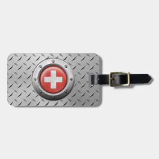 Industrial Swiss Flag with Steel Graphic Luggage Tag