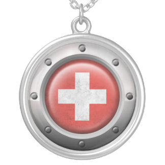 Industrial Swiss Flag with Steel Graphic Pendants