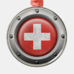 Industrial Swiss Flag with Steel Graphic Christmas Ornament