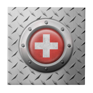 Industrial Swiss Flag with Steel Graphic Tile