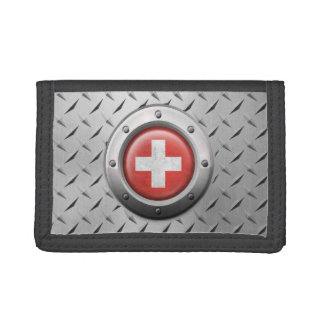 Industrial Swiss Flag with Steel Graphic Trifold Wallets