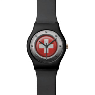 Industrial Swiss Flag with Steel Graphic Wrist Watch