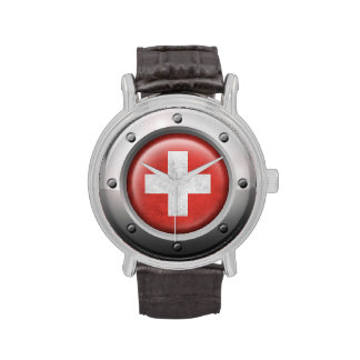 Industrial Swiss Flag with Steel Graphic Watch