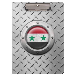 Industrial Syrian Flag with Steel Graphic Clipboard