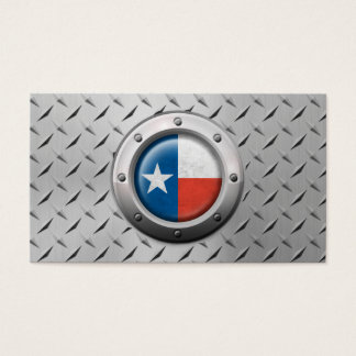 Industrial Texas Flag with Steel Graphic Business Card