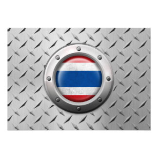 Industrial Thai Flag with Steel Graphic Custom Announcements