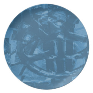 Industrial Themed Abstract Design in Blue. Dinner Plates