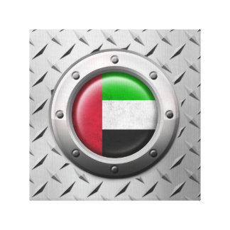Industrial UAE Flag with Steel Graphic Stretched Canvas Print