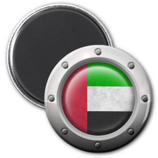 Industrial UAE Flag with Steel Graphic Fridge Magnet