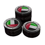 Industrial UAE Flag with Steel Graphic Poker Chips Set