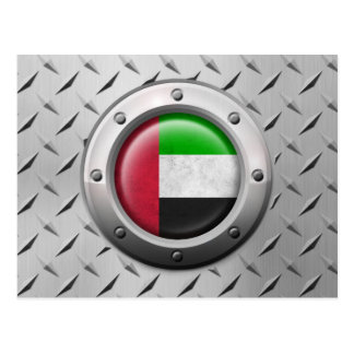 Industrial UAE Flag with Steel Graphic Postcard