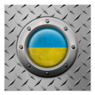 Industrial Ukrainian Flag with Steel Graphic Poster