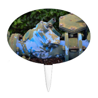 industrial valve blue paint flake steampunk cake topper