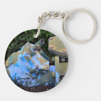 industrial valve blue paint flake steampunk Double-Sided round acrylic keychain