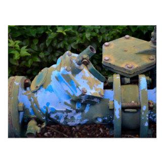 industrial valve blue paint flake steampunk postcard