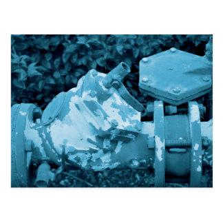 industrial valve blue steampunk image postcard