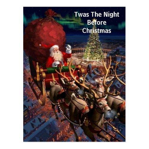Industrial Vintage Santa Claus Flying Reindeer Postcard