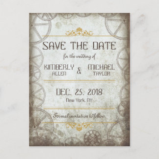 Industrial Vintage Steampunk Wedding Announcement Postcard