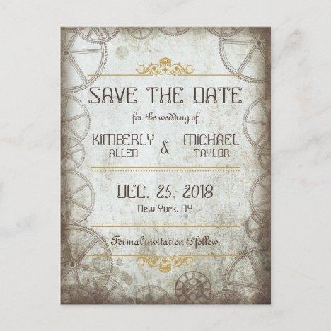 Industrial Vintage Steampunk Wedding Announcement Postcard