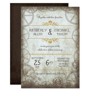 Industrial Vintage Steampunk Wedding Invitation