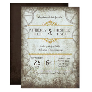 Industrial Vintage Steampunk Wedding Invitation